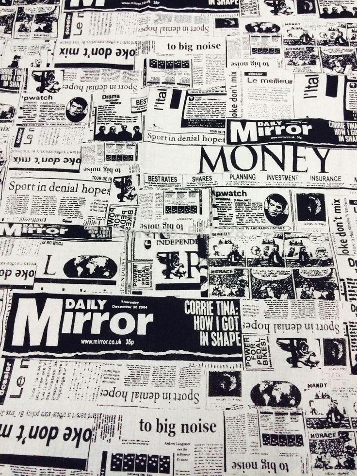 "59"" 1 meter New High Quality vintange Linen Cotton Home Deco Fabrics Newspaper black mini order 1 Meter 1 Cut"
