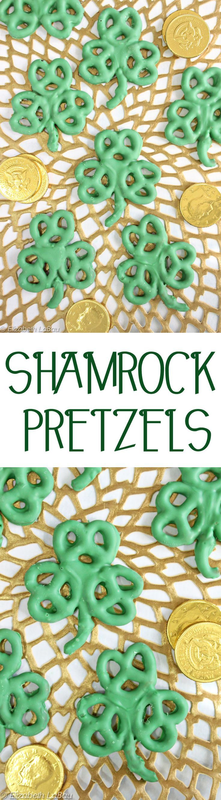 Shamrock Pretzels are a super easy St. Patrick's Day candy! Just 2 ingredients and 10 minutes to make these cute treats--and they're great for kids to help with, too! | From http://candy.about.com