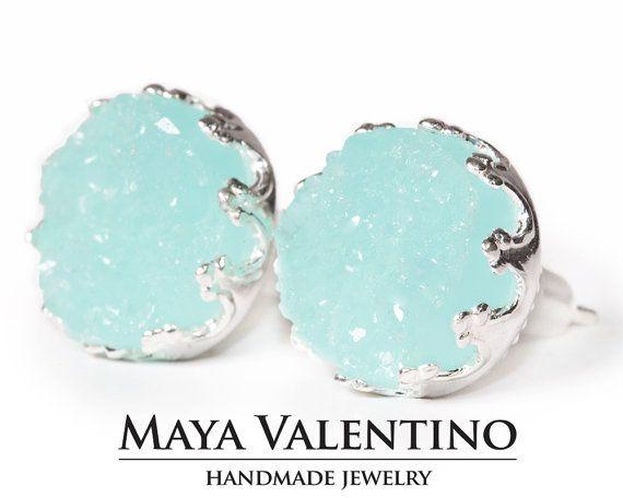 Sky Blue Druzy earrings Silver earrings Stud earrings #designer#handmadegifts#prom#etsy#want#wish#luxuryjewelry#finejewelry#love#women#fashion#style