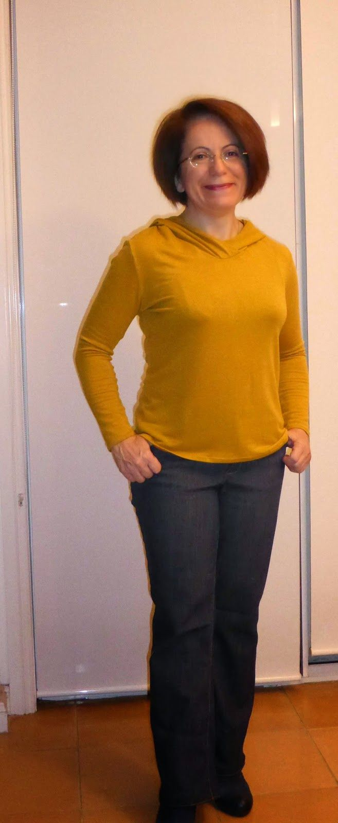 Jalie jeans updated to wear with heels. Top using Tessutis Alexa tee using merino knit.