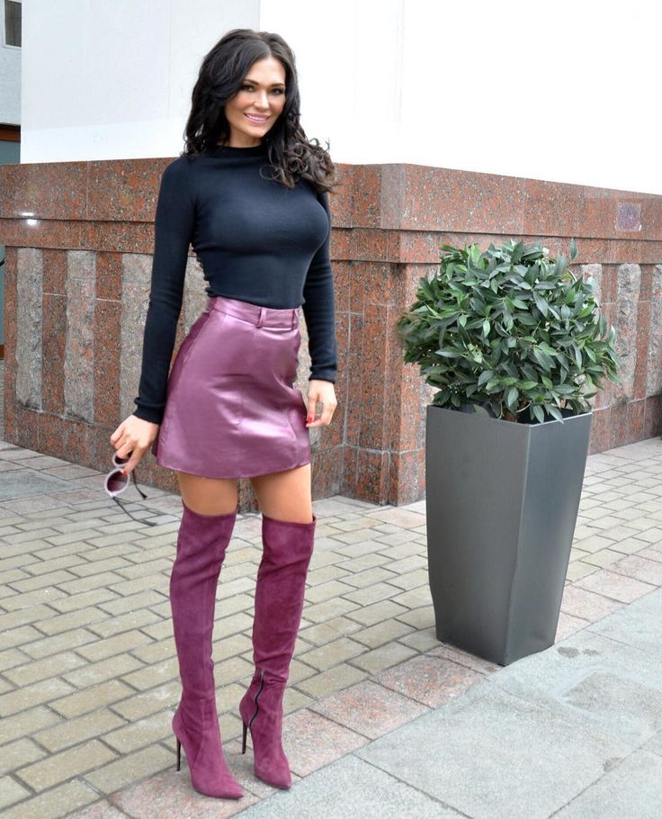 Purple metallic leather miniskirt and OTK boots outfit