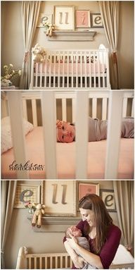 """peach walls, taupe sheets, white crib, wallpaper in frames. Home by Heidi: {Baby Girl Nursery Ideas!} Love the framed letters!"""""""