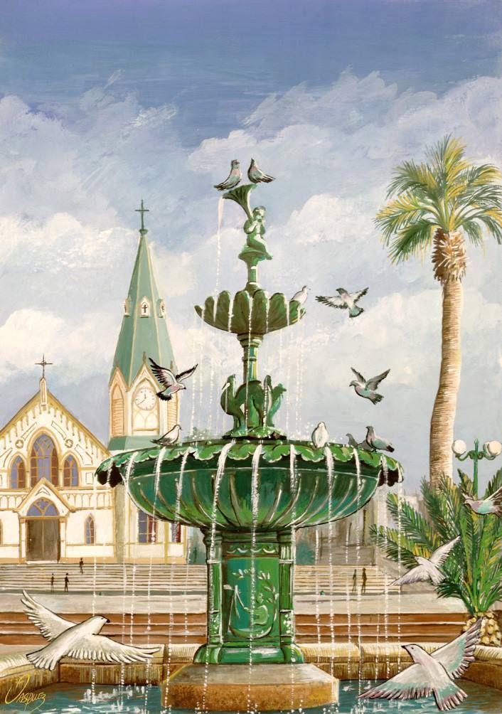 Acuarela de Johnny Vásquez Osorio, Fuente de la Plaza Colón Acuarela de 30x40 cm enviada a Bressuire, Francia, el año 1997