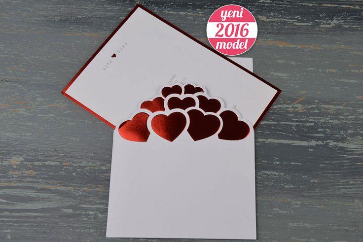 Kabartma Kalp Deseni Kırmızı Yaldızlı Davetiye Modeli 20174