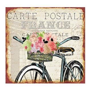 Obraz  na plátně - bicykl s košíkem květů - France