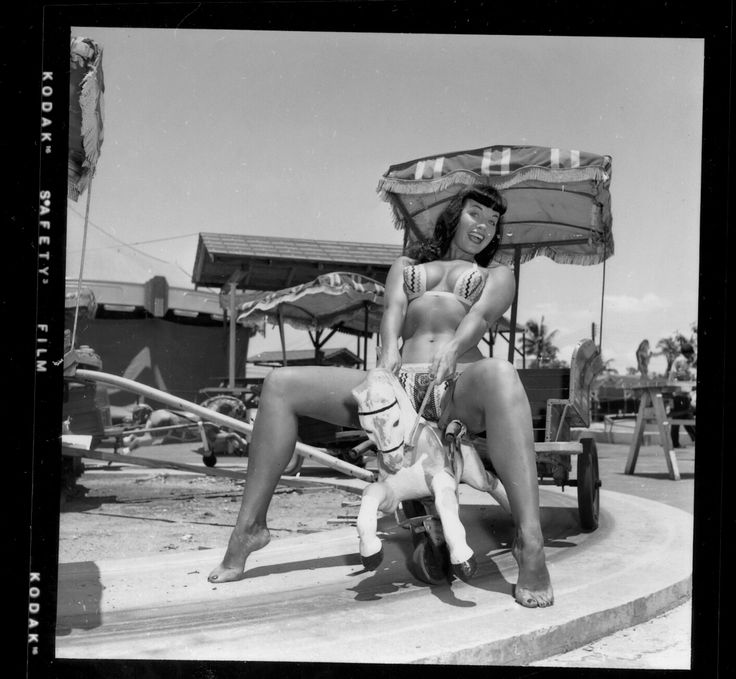 Bettie Page at an amusement park 1954