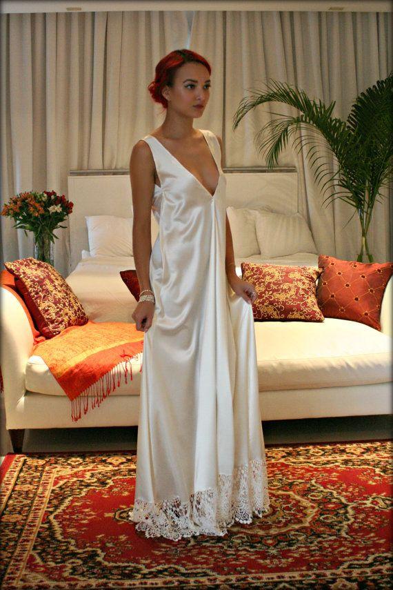 Satin Bridal Nightgown Off White Wedding by SarafinaDreams on Etsy