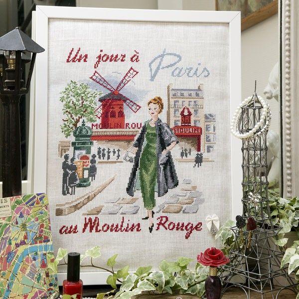 Lin : Un jour à Paris au Moulin rouge à broder au point de croix