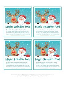 Magic Reindeer Food Gift Tags/poem and bird-friendly recipe