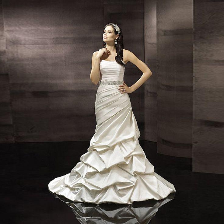 Новинка свадебное платье без бретелек с кристаллический отбортовывать плиссированные атласа русалка свадебные платья 2015 кот