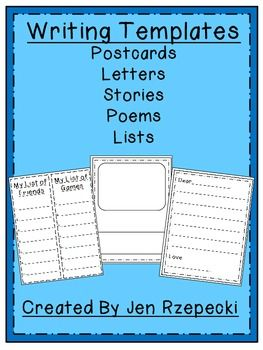 Writing Templates-FREEBIE! - Jennifer Rzepecki - TeachersPayTeachers.com