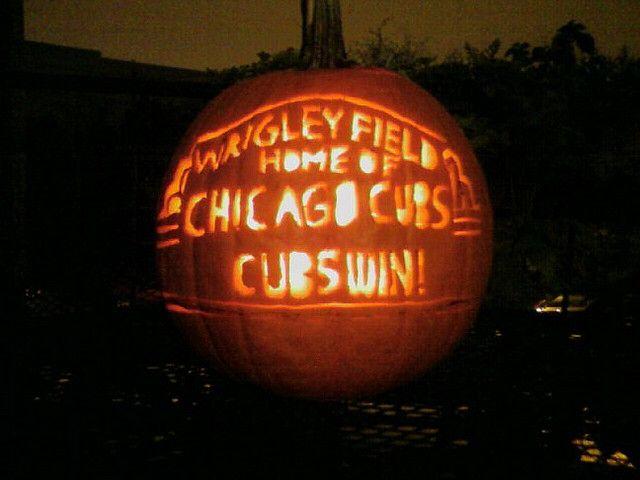 Cubs Win ~ Halloween Pumpkin