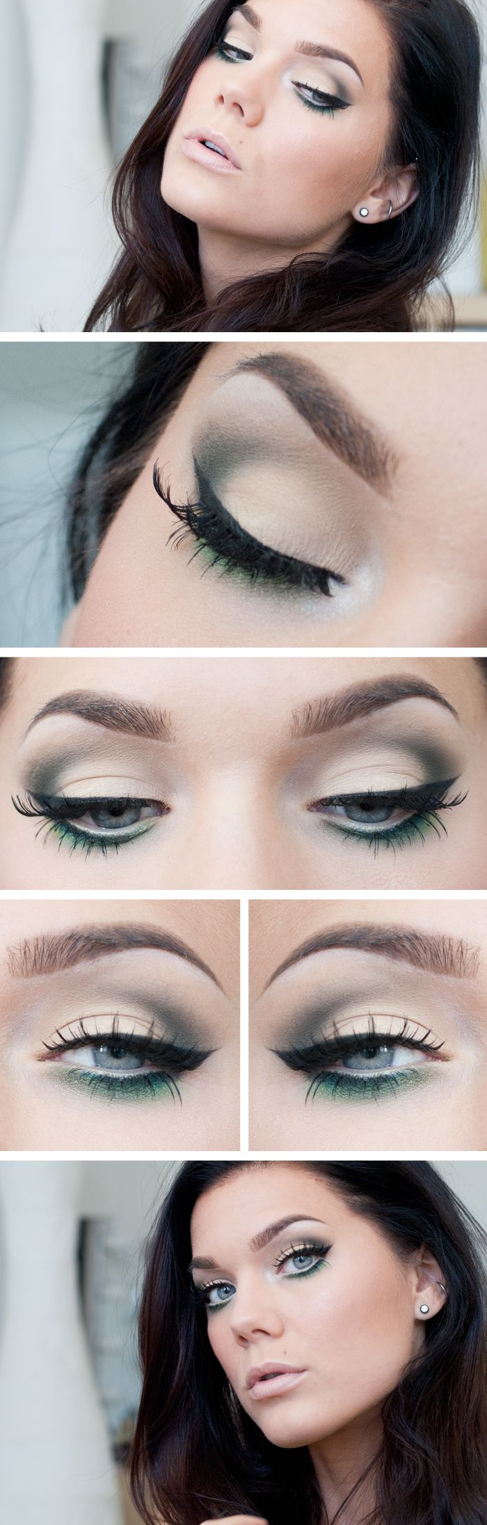 "Today's Look : ""Must be the Love"" -Linda Hallberg (a forest green/mossy green smokey eye) 06/15/13"