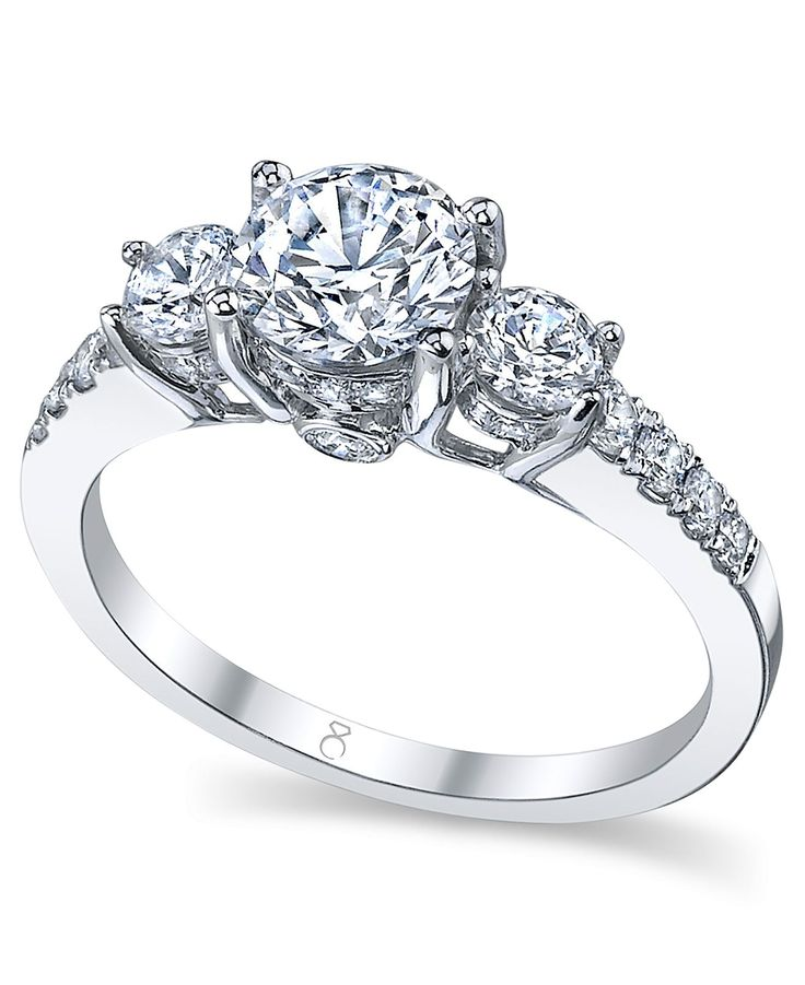 My Diamond Story Ring 18k White Gold Certified 3 Stone Diamond Engagement Ri