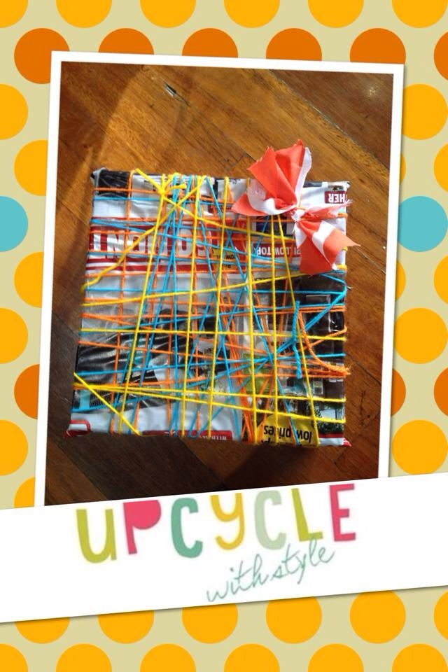 Upcycled gift wrapping with letterbox flyers, wool & fabric scraps  www.upcyclewithstyle.com.au