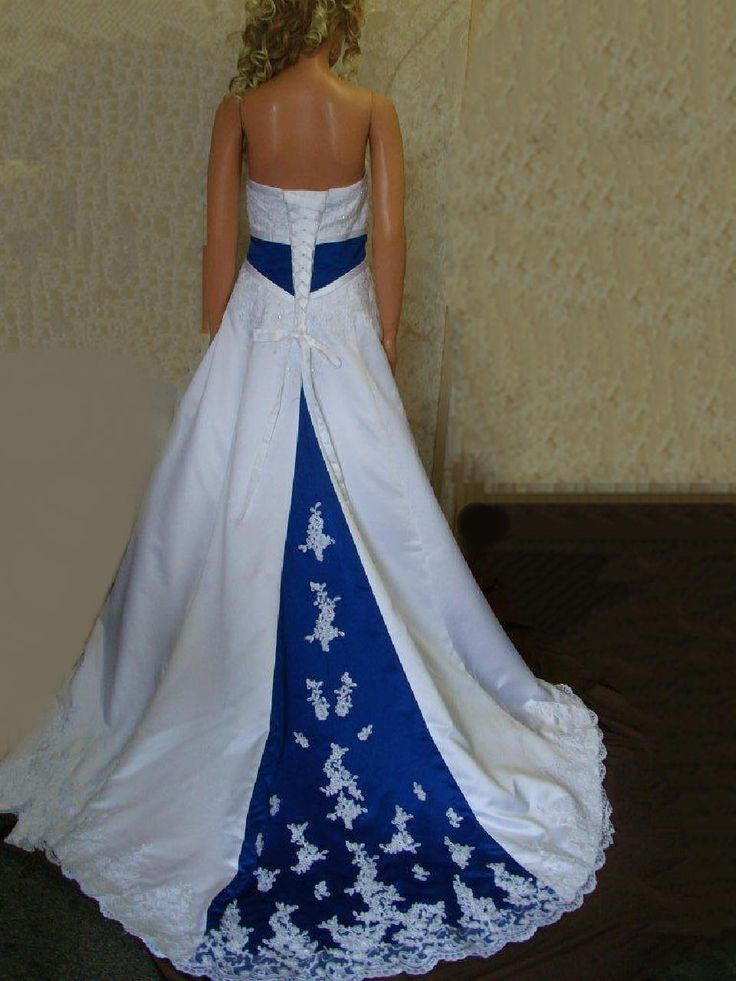 blue wedding dresses | ... wedding gown. Royal Blue Empireand train Wedding Dress covered with