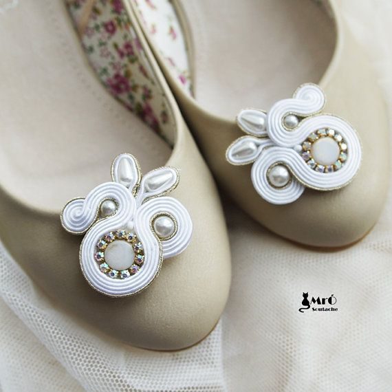 Daphne- oryginal soutache clips shoes ! Handmade, wedding.