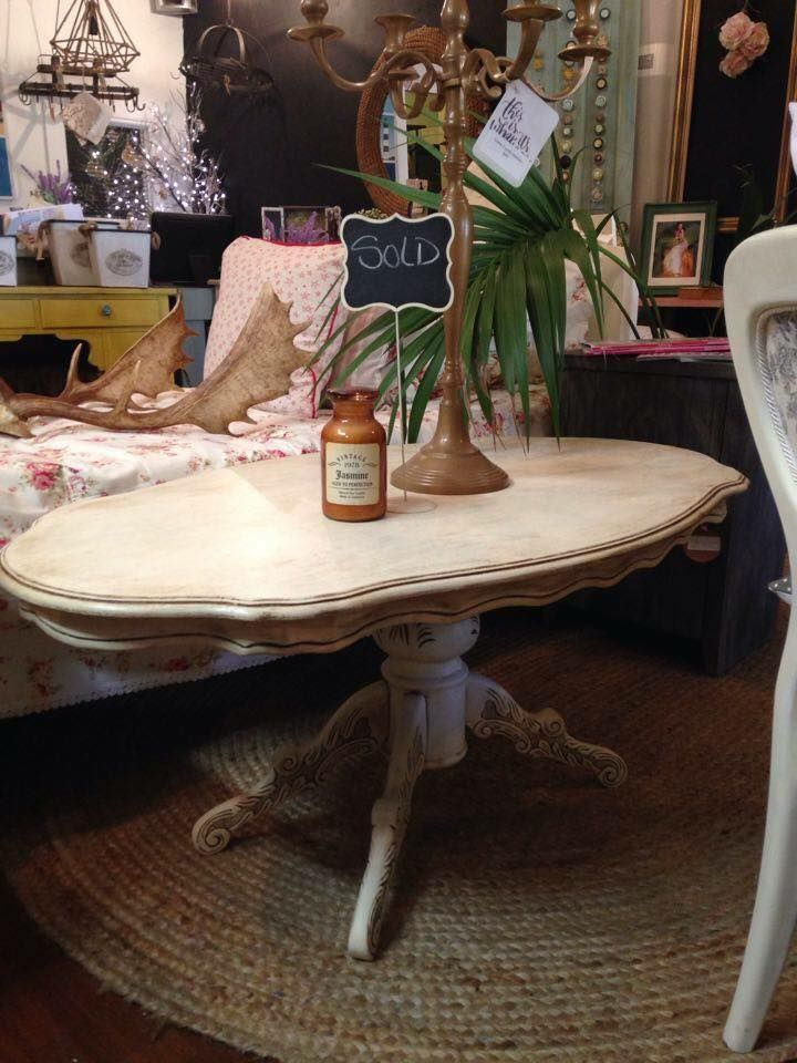 Revamped coffee table done in Annie Sloan Chalk Paint OLD WHITE & Dark Wax.