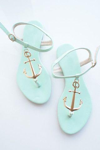 Minty Green Nautical Golden Anchor Sandals