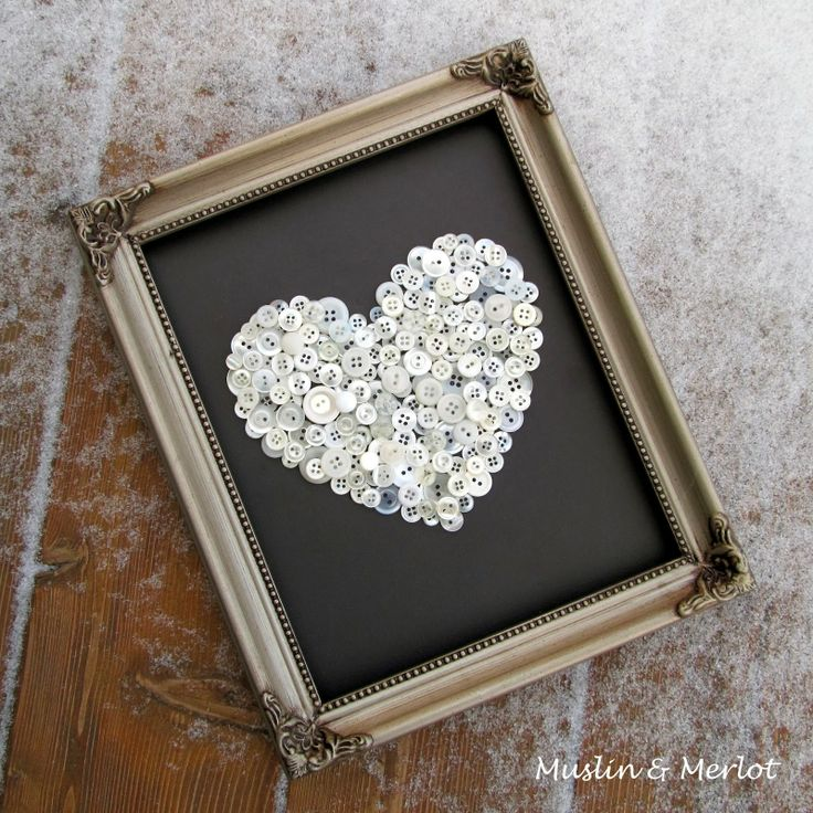 Button Up Your Heart! Use cardstock, an old frame and the contents of your button jar to make your own button heart!
