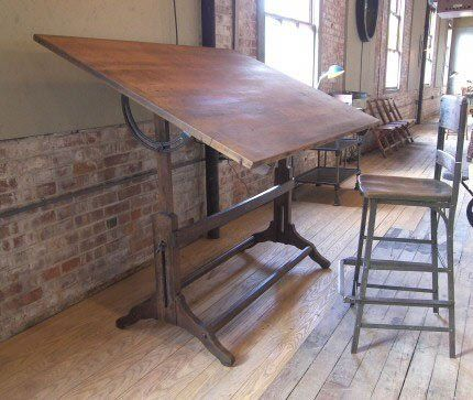 Vintage Industrial Drafting Table. #LaBoutiqueVintage