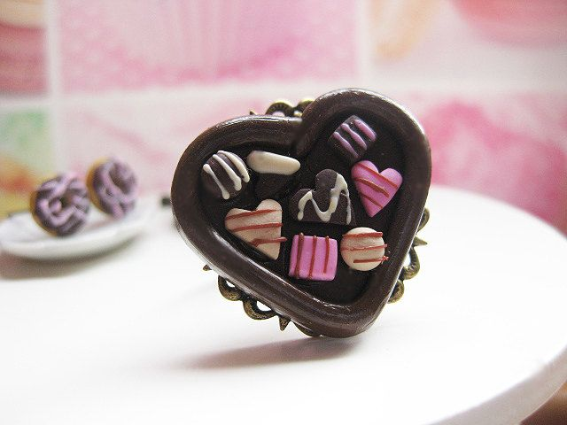 Valentine Chocolate Antique Bronze Ring _ Polymer Clay _ Foodie Gift _ Food Jewelry by MarisAlley on Etsy