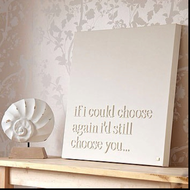 Wooden letters on canvas board, painted white