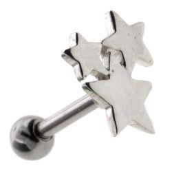 Silver & Steel Lobe / Tragus Bar - Stars