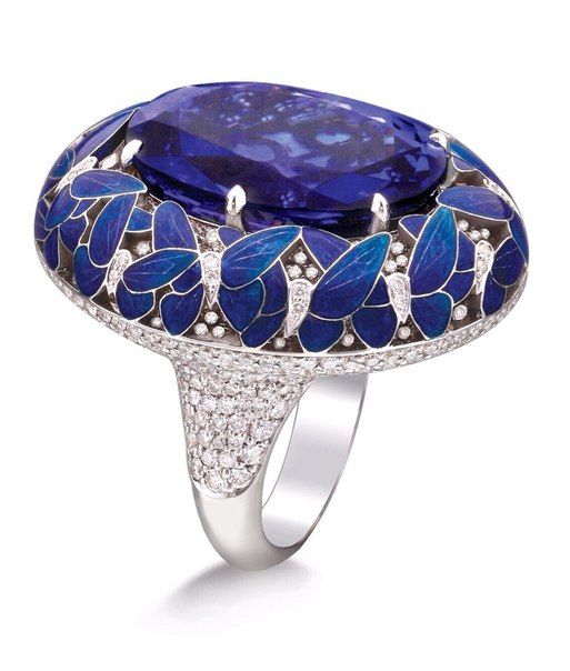 Ilgiz Fazulzyanov, purple and blue butterflies enamel ring with diamonds…