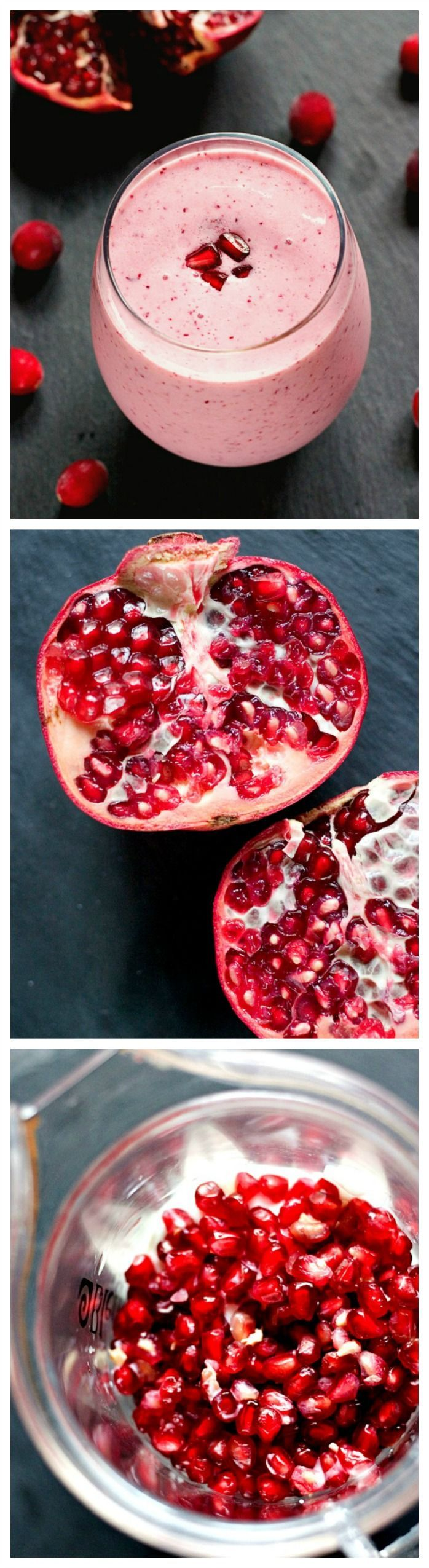 This cranberry pomegranate smoothie by crunchycreamysweet looks good…