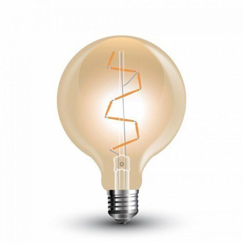 LED lámpa , égő , izzószálas hatás , gömb , E27 foglalat , G95 , 4 Watt , borostyán sárga , meleg fehér , vintage