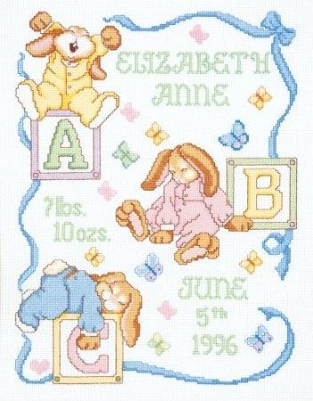 Amazon.com: Janlynn Cross Stitch Kit, Sleepy Bunnies Birth Announcement: Arts, Crafts & Sewing