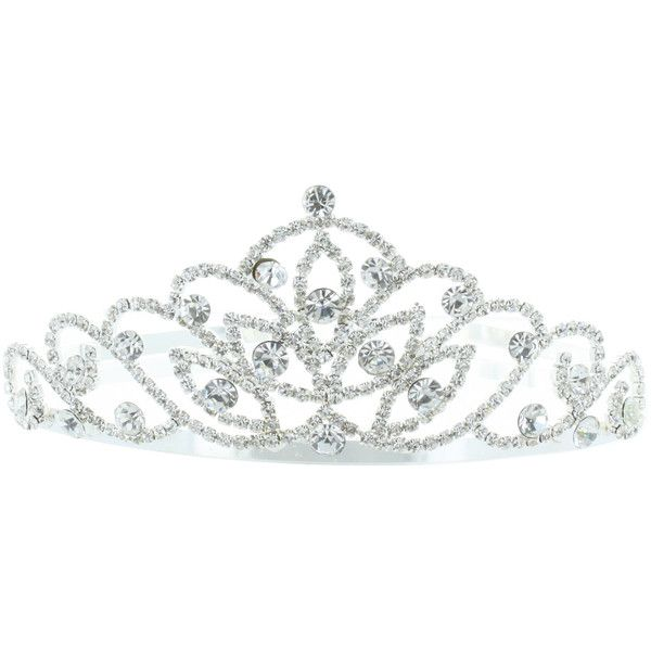 Kate Marie 'Alli' Silver Rhinestone Crown Tiara ($26) ❤ liked on Polyvore featuring jewelry, accessories, crowns, tiaras and crowns/tiaras