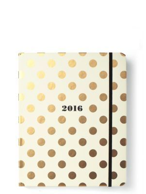 New agenda from Kate Spade picked up from Nordstrom today! Online calendars are great, but I still love having a place to write down goals/aspirations as well as keeping up with my blog.  Plus it starts in August!    2016 17-month large agenda- gold dots - kate spade new york