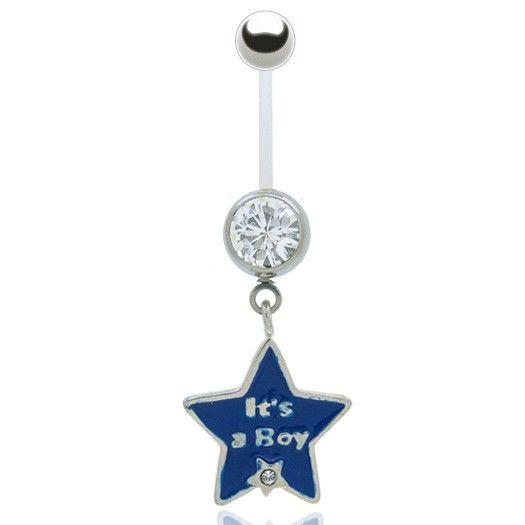 Gardez votre piercing de nombril durant la grossesse avec cette barre souple ajustable (bioplast), bijou orné d'un pendentif étoile en argent rose ou bleu.