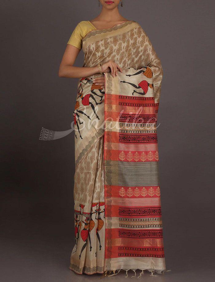 Prerna Dancing Tribes Border Pure #GhichaSilkSaree