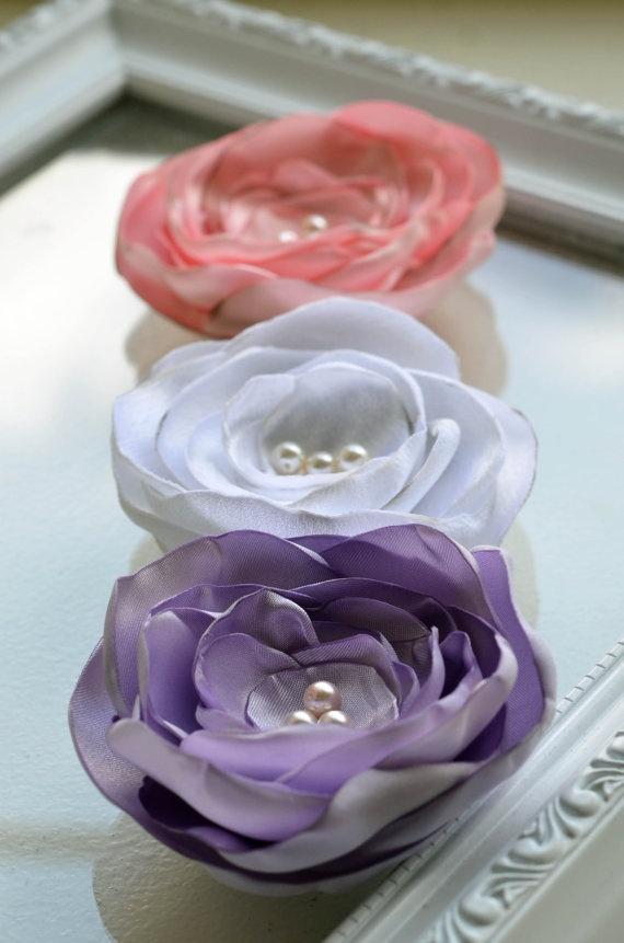 Satin Flowers Purple Satin flower Pink Satin Flower by edynsgarden