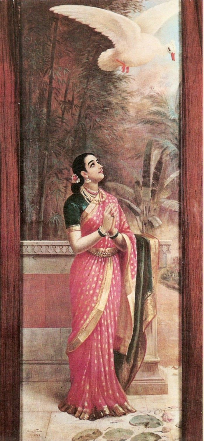 Raja Ravi Varma paints Damayanthi sending a message to Nala through a swan. Waist belts were common in those times and a simple and effective way for Indian women to know if they were gaining weight. Apart from benefiting from the properties of precious metals against their body when they bathed.