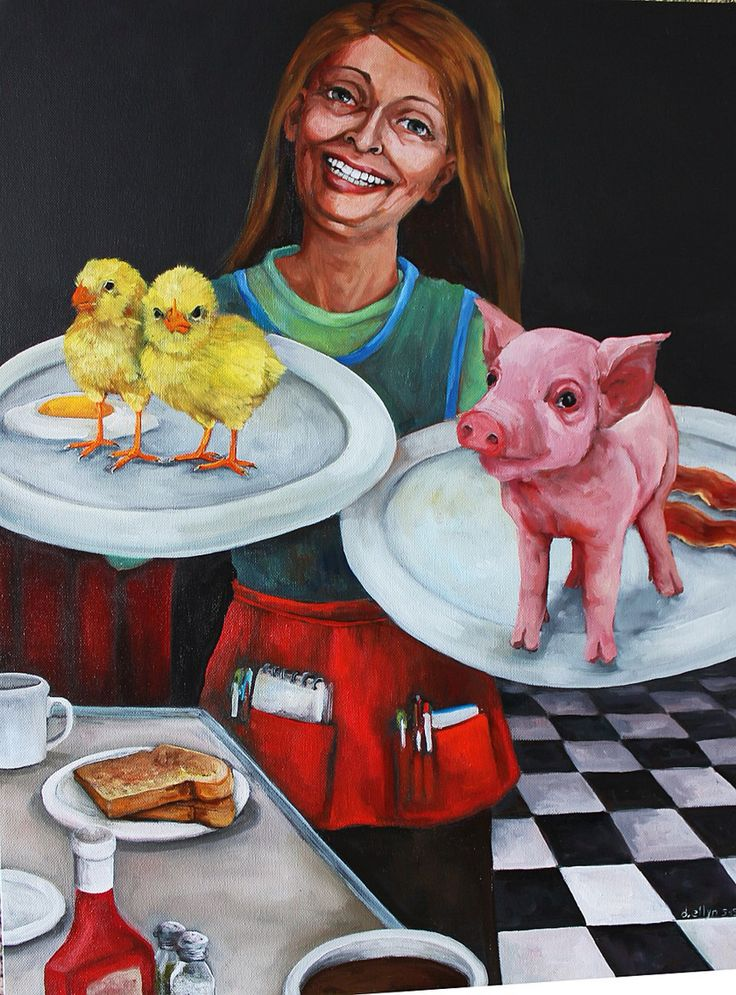 """""""Bacon and Eggs"""" now this certainly does not look  appetizing at all -  by Dana Ellyn #vegan"""