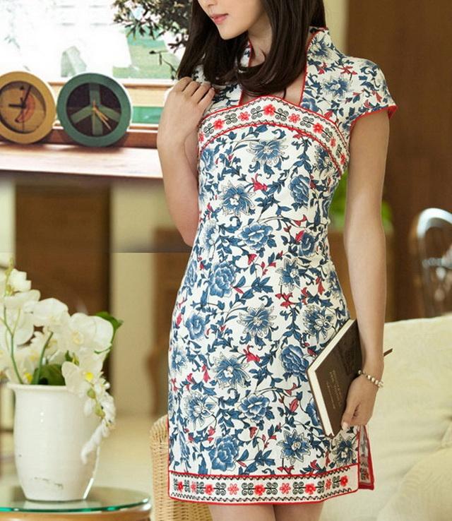 Blue Flowers Red Lining Cheongsam Dress-zeniche.com SKU ab0420