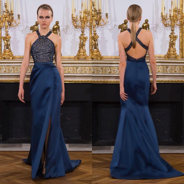 "863 Likes, 4 Comments - Rami Al Ali Official (@ramialaliofficial) on Instagram: """"Let your back do the talking."" #blue #crystal #ramialali #hautecouture #pfw #aw1617"""