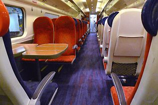 Man in Seat 61 Beginners guide - Standard class seats on a Virgin Trains Pendolino from London to Manchester, Birmingham, Liverpool, the Lake District and Glasgow