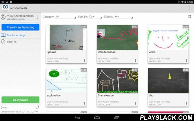 Lensoo Create  Android App - playslack.com ,  Lensoo Create turns your Android tablet into a virtual whiteboard with voice recording, video and smooth digital writing. Using Lensoo Create you can quickly share your ideas through email, Facebook, Twitter or LinkedIn from virtually anywhere. You can also download recordings on the website. Whether you are a teacher looking to instill knowledge, a student wishing to present your ideas or simply a person with an impressive skill to share, Lensoo…