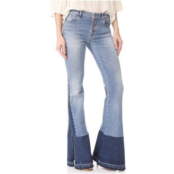 Roberto Cavalli Denim Trousers (1 440 BGN) ❤ liked on Polyvore featuring pants, blu, 5 pocket pants, bellbottom pants, denim pants, blue trousers and blue pants
