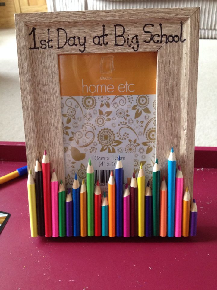 Laila's first day at school. Made with sharpened pencils and plain photo frame x