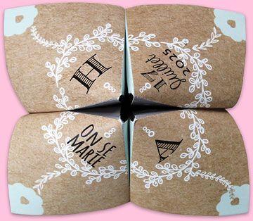 Faire-part mariage origami cocotte tendance et festive qui surprendra vos proches par son originalité, réf.N33001