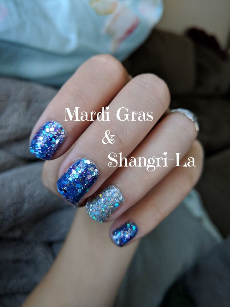 Color Street Nails Using Mardi Gras And Shangri La Doubled Up Becolorstreet Colorstreet