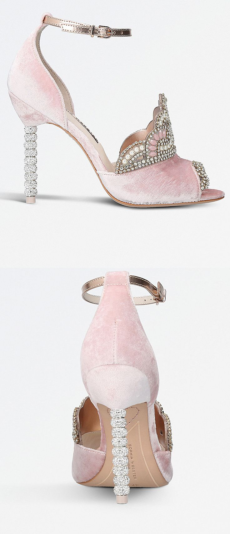 Sophia Webster Royalty embellished tiara-detail velvet sandals. Baby Pink Velvet with a Regal Crown over the Foot Arch. Brand New Season AA17 at Selfridges. Christmas party like a princess. Crystal Party Shoes. #fashion #fashionista #shoefetish #shoeaddict #affiliatelink #couture #christmas #giftsforher