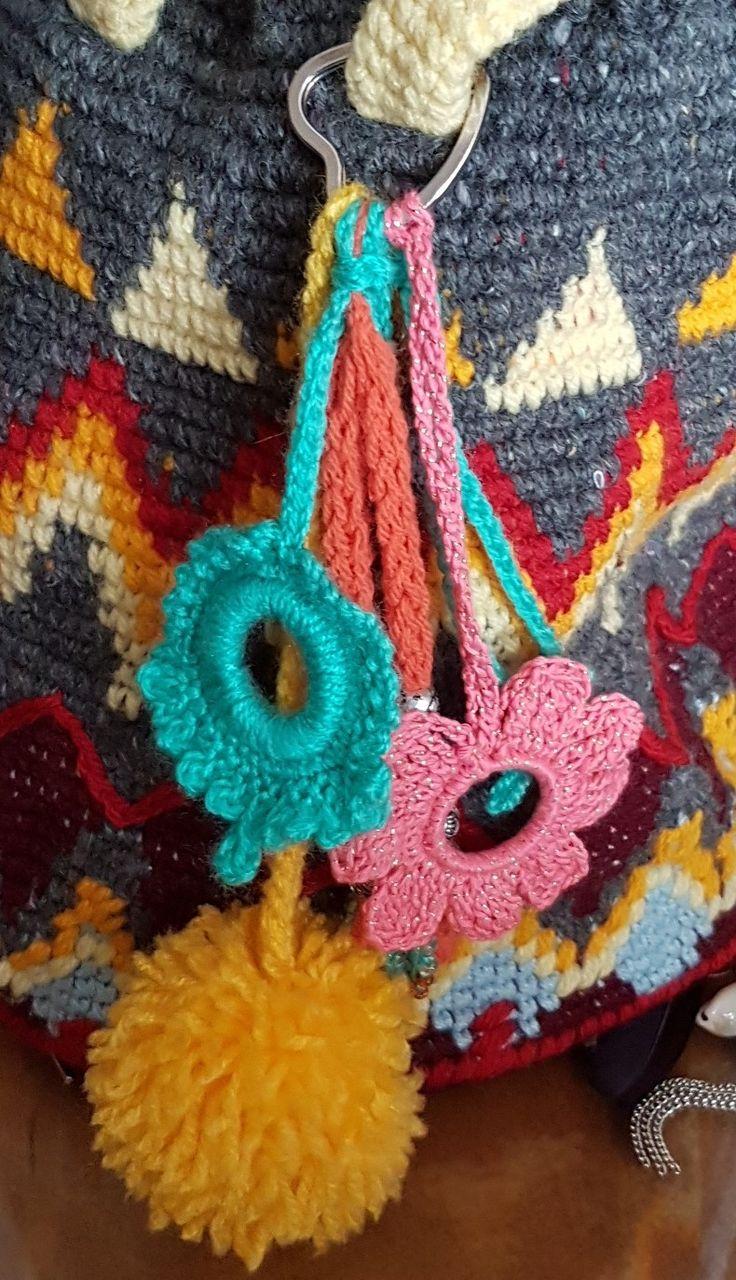 prívesok na wayuu bag, vyrobený mnou, pre moju dcéru