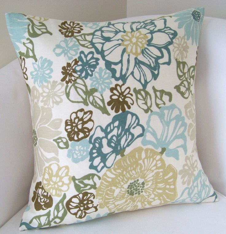 Teal Blue Throw Pillow Covers : Floral Teal Blue Green Pillow Cover Decorative Throw Pillow Cushion Accent Pillow Green pillow ...